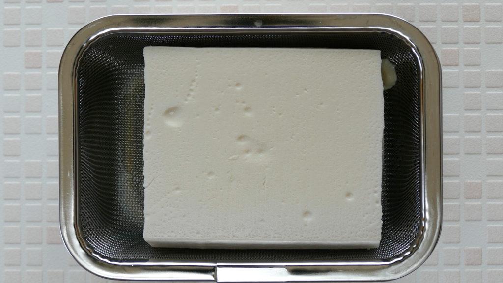 豆腐の水切り後の状態